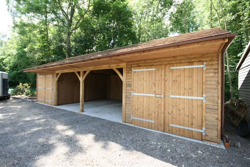 Double garage with two bay carport