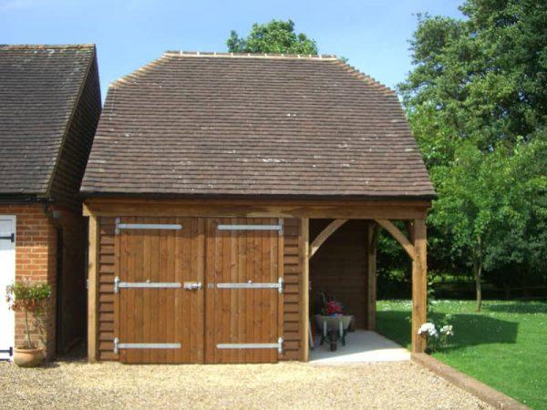 Garage with garden store