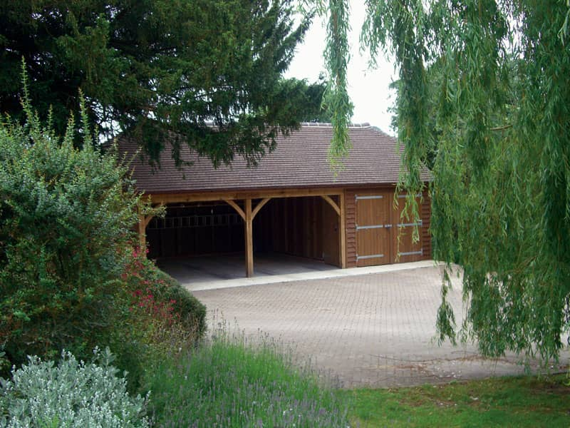 Two bay carport with store