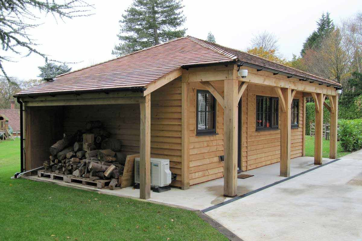 Home office with log store