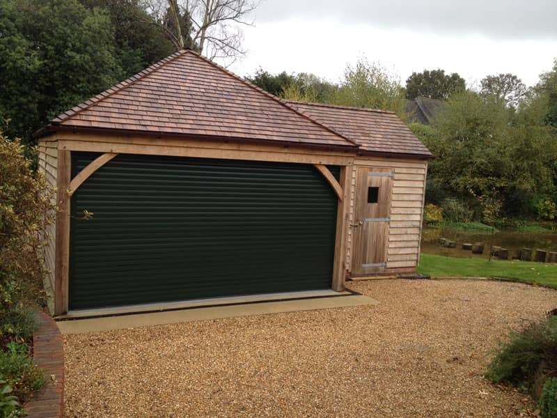 Single garage with garden store
