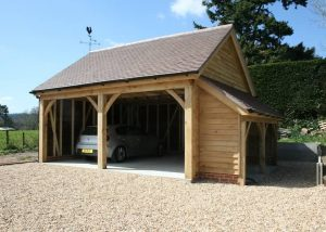 two bay carport with log store1